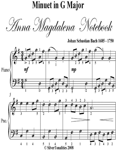 Minuet In G Major Anna Magdalena Notebook - Easy Piano Sheet Music