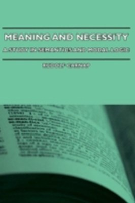 (ebook) Meaning and Necessity - A Study in Semantics and Modal Logic