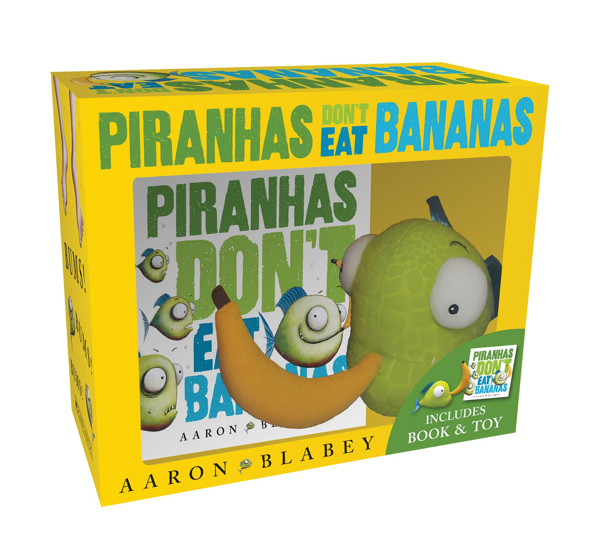 Piranhas Dont Eat Bananas Mini Book + Plush