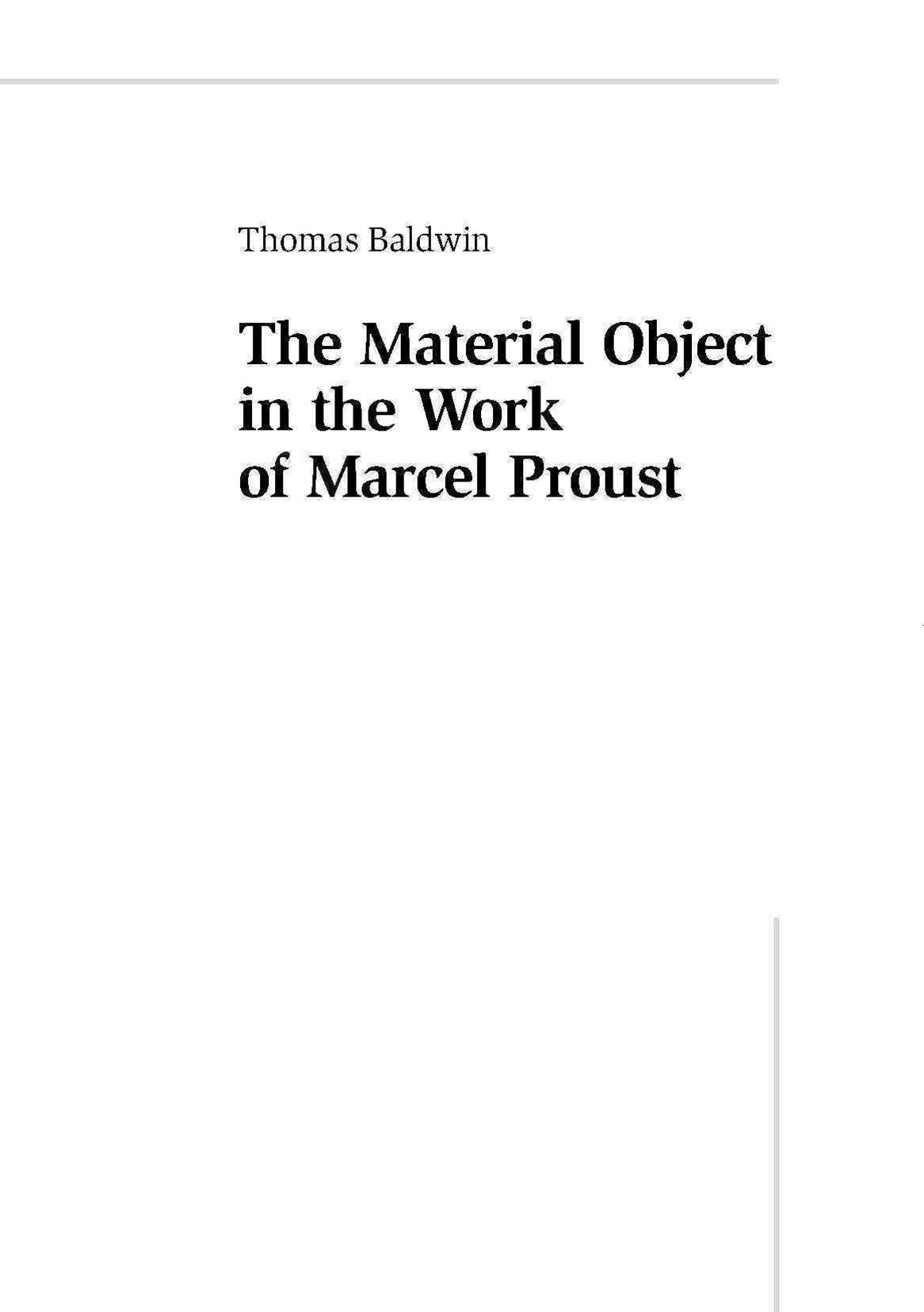 Material Object in the Work of Marcel Proust