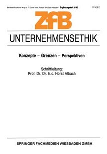Unternehmensethik by Horst Albach (9783663021438) - PaperBack - Business & Finance Ecommerce
