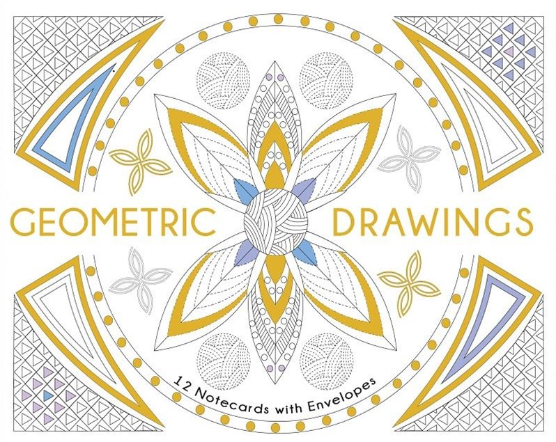 Geometric Drawings. 12 Greeting cards with envelopes