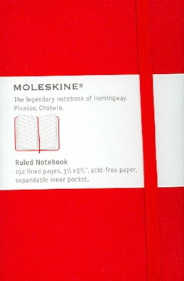 Moleskine - Classic Hard Cover Notebook - Ruled - Pocket - Scarlet Red