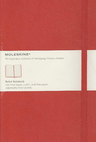 Moleskine - Classic Hard Cover Notebook - Ruled - Large - Scarlet Red