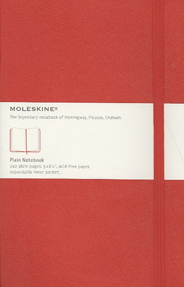 Moleskine - Classic Hard Cover Notebook - Plain - Large - Scarlet Red