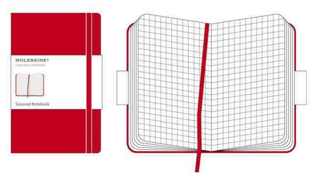 Moleskine - Classic Hard Cover Notebook - Grid - Pocket - Scarlet Red