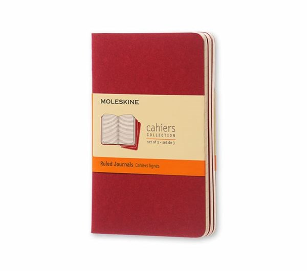 Moleskine - Cahier Notebook - Set of 3 - Ruled - Pocket - Cranberry Red