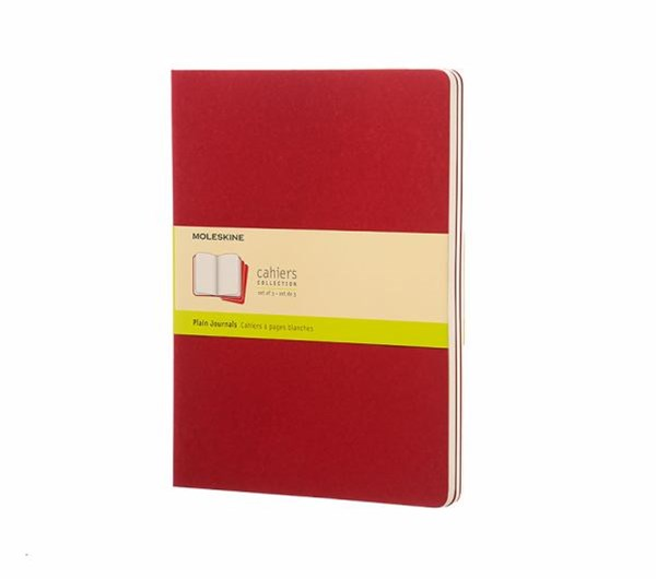 Moleskine - Cahier Notebook - Set of 3 - Plain - Extra Large - Cranberry Red