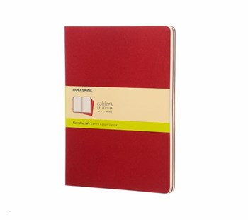 Moleskine - Cahier Notebook - Set of 3 - Plain - Extra Large - Cranberry Red - Notebooks & Journals Notebook - Plain