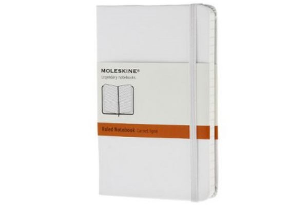 Moleskine - Classic Hard Cover Notebook - Ruled - Pocket - White