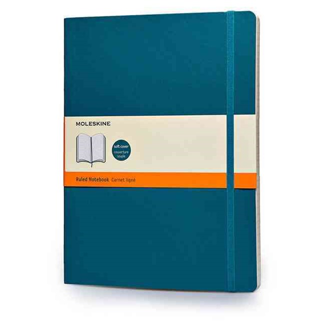 Moleskine - Classic Soft Cover Notebook - Ruled - Extra Large - Underwater Blue