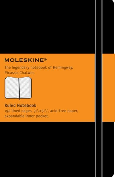 Moleskine - Classic Hard Cover Notebook - Ruled - Pocket - Black