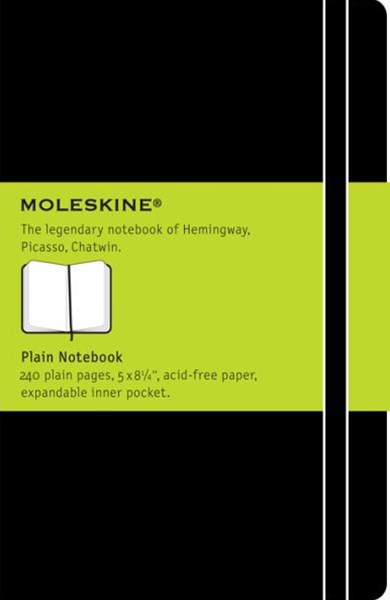 Moleskine - Classic Hard Cover Notebook - Plain - Large - Black
