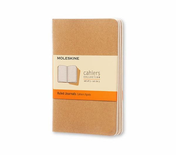 Moleskine - Cahier Notebook - Set of 3 - Ruled - Pocket - Kraft