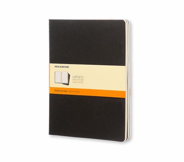 Moleskine - Cahier Notebook - Set of 3 - Ruled - Extra Large - Black