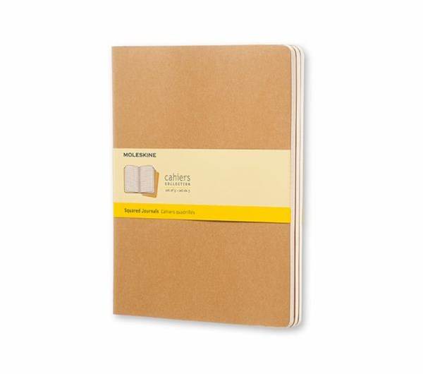 Moleskine - Cahier Notebook - Set of 3 - Grid - Extra Large - Kraft
