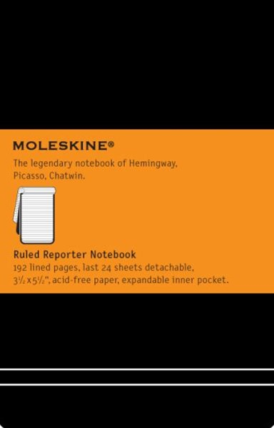 Moleskine - Classic Reporter Hard Cover Notepad - Ruled - Pocket - Black