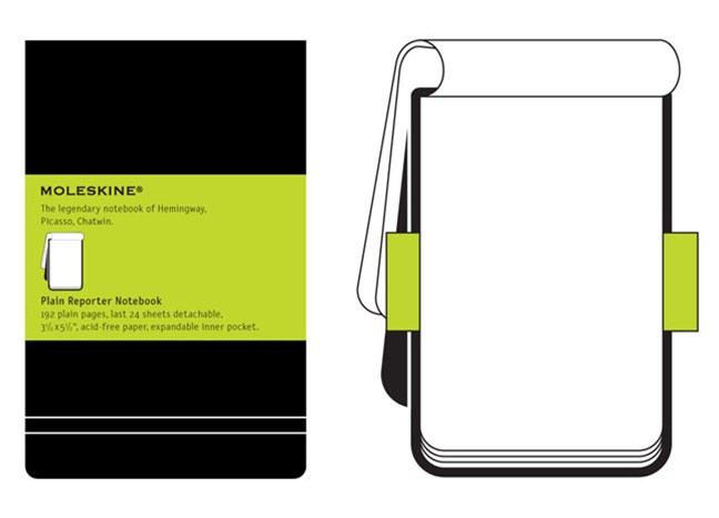 Moleskine - Classic Reporter Hard Cover Notepad - Plain - Pocket - Black