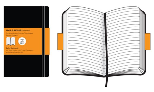 Moleskine - Classic Soft Cover Notebook - Ruled - Large - Black - Notebooks & Journals Notebook - Ruled