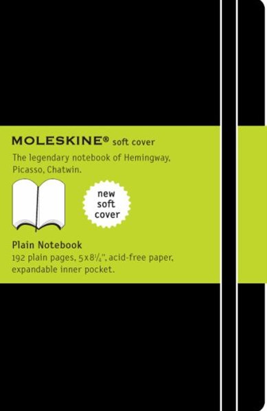 Moleskine - Classic Soft Cover Notebook - Plain - Large - Black